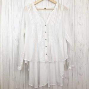 FREE PEOPLE  White Gauze Pleated High Low Blouse